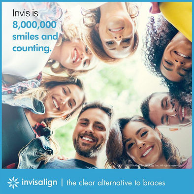 Invisalign clear aligners on different faces for all ages