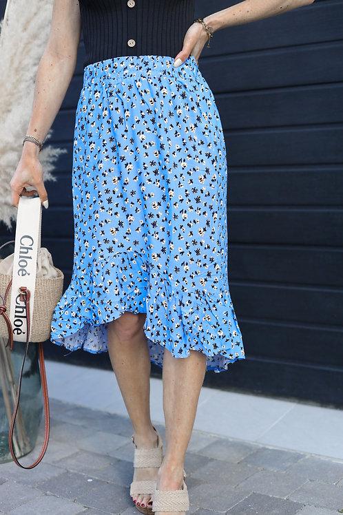 jupe mi-longue bleu fleurie grecy mode tendance été printemps 2021