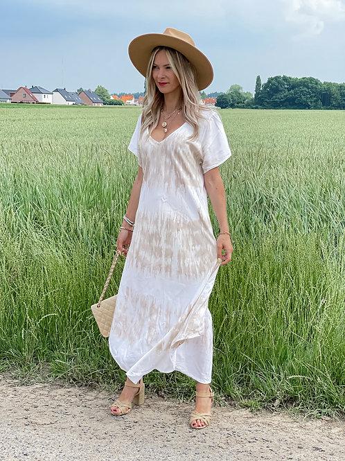 Robe longue beige tie & dye beige et blanc. tendance Grecy