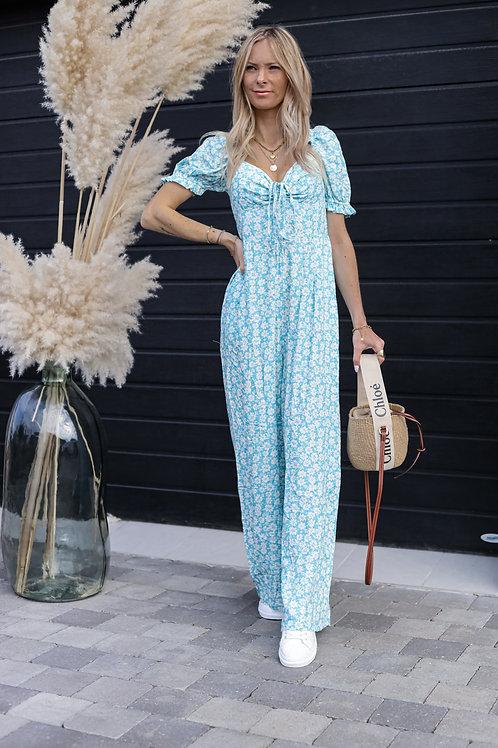 combinaison fleurie bleu fluide pantalon