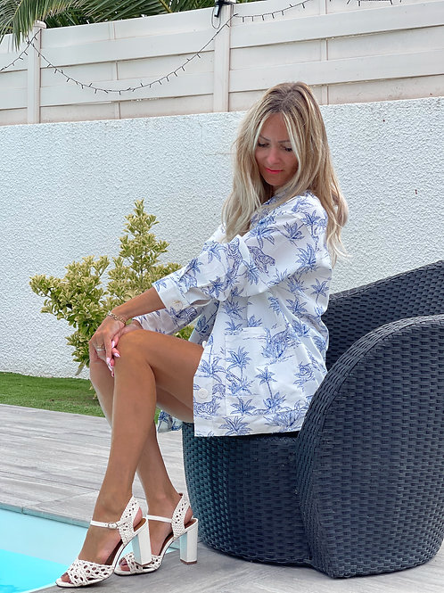 veste blazer safari blanc bleu lin grecy