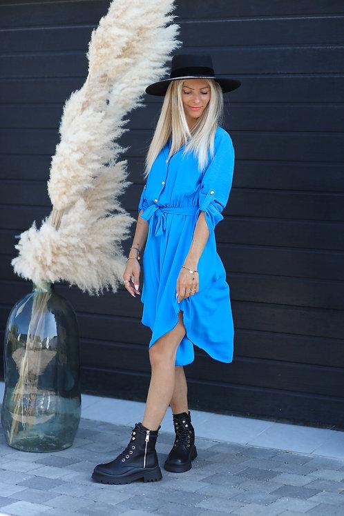 Longue robe chemise de couleur bleu.  Alerte pépite !! Une couleur magnifique ! made in France