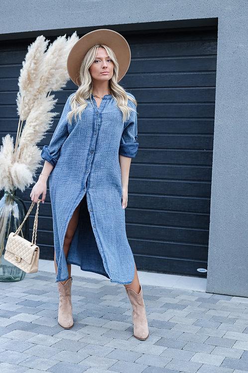 Longue chemise robe en gaze de coton , elle est fluide et c'est une taille unique .  100% coton  Fabriqué en Italie
