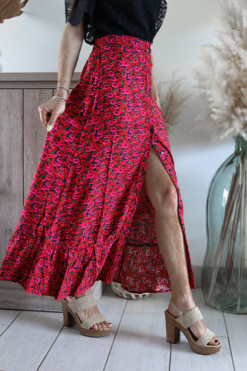 Jupe longue noire avec un motif fleurie rouge the kooples  grecy