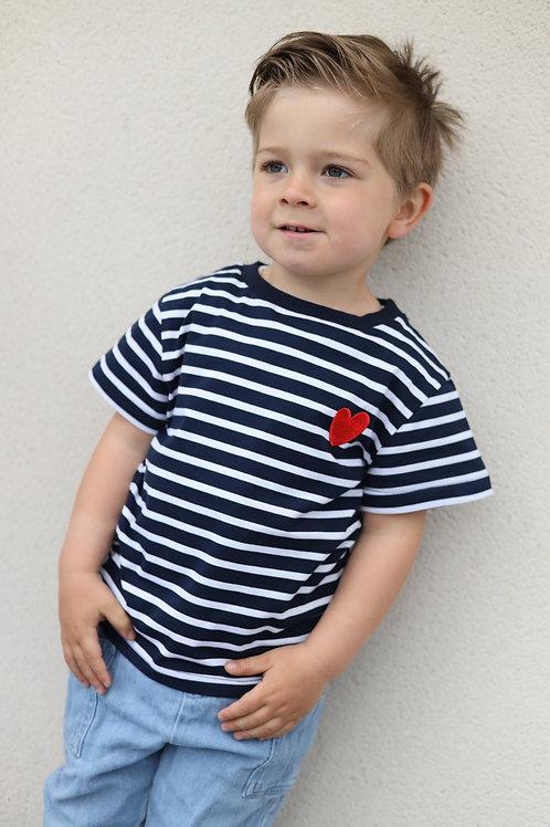T-shirt marin pour être matchy avec sa maman.  100% coton