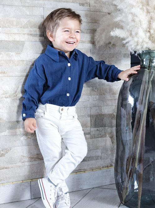 Chemise mixte enfant, pour petites filles ou petits garçonsgaze de coton , pour être matchy avec sa maman.