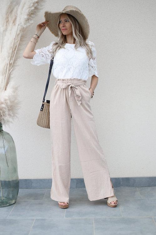 pantalon fluide fendu lin beige grecy mode
