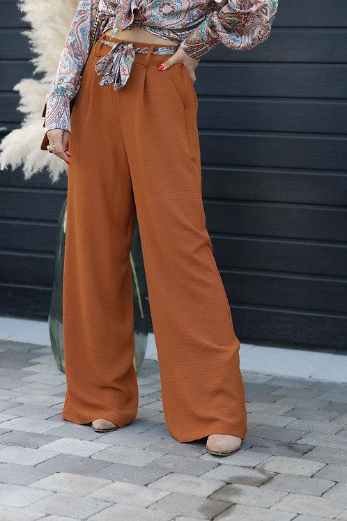 Pantalon fluide de couleur camel.  Très agréable à porter. Tendance Grecy 2021