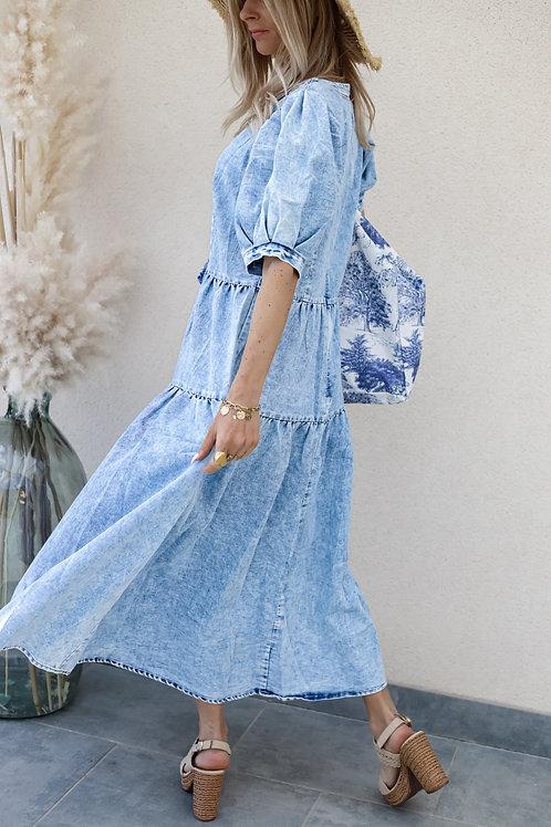 longue robe en jean denim fluide