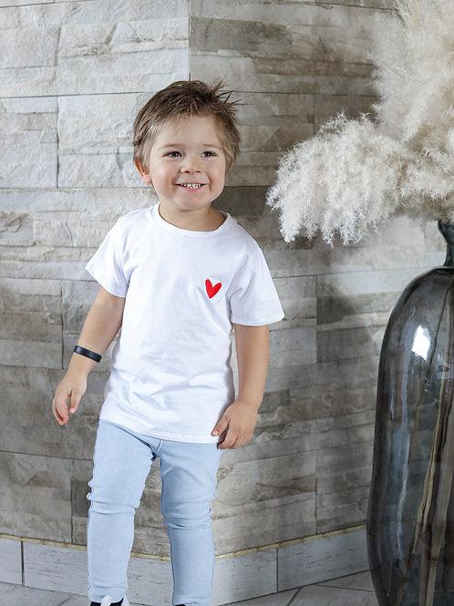 T-shirt blanc coeur matchy enfant