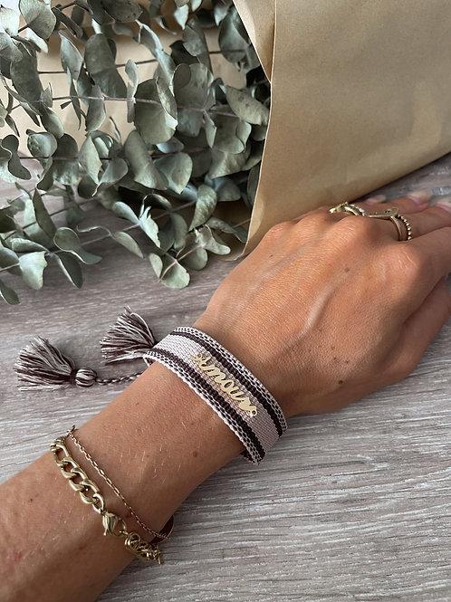 Bracelet amour tissus et doré