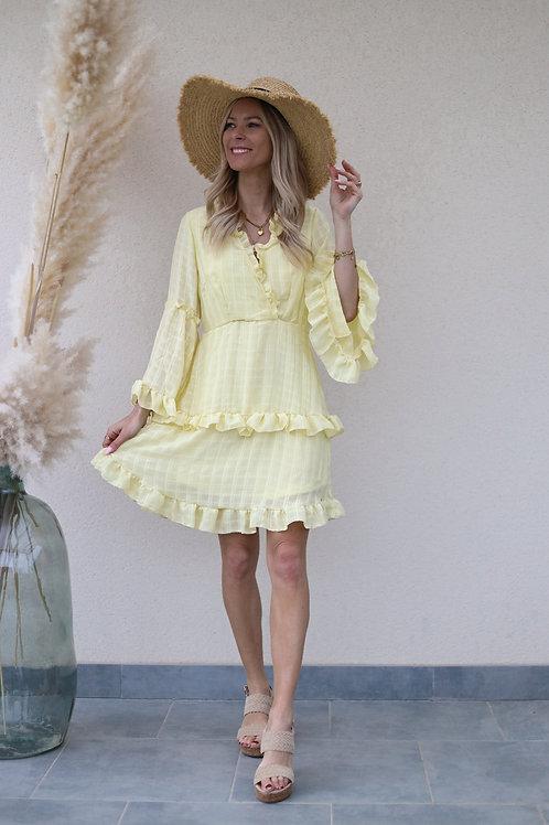 robe jaune fluide volants grecy mode tendance
