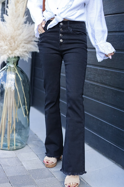 Jean noir taille haute coupe skinny flare