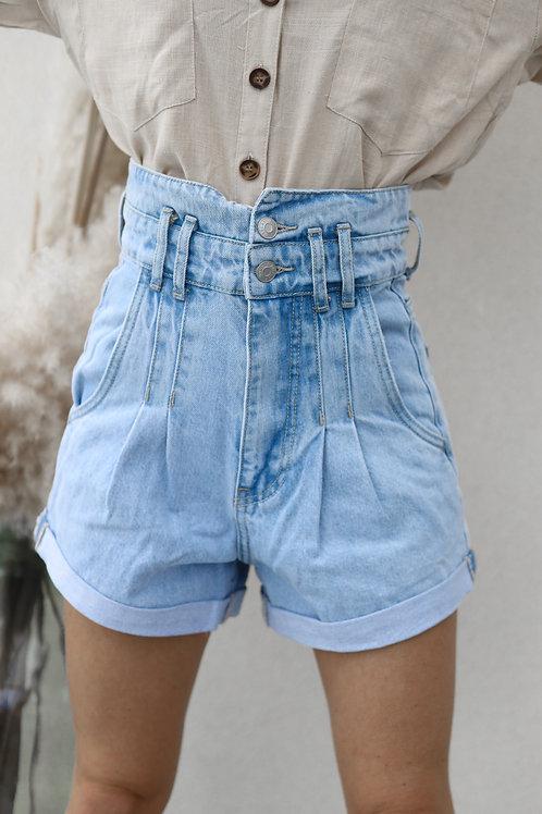 short jean taille très haute super clair grecy mode tendance