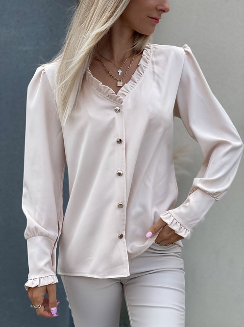 chemise blouse nude beige clair volants made france grecy