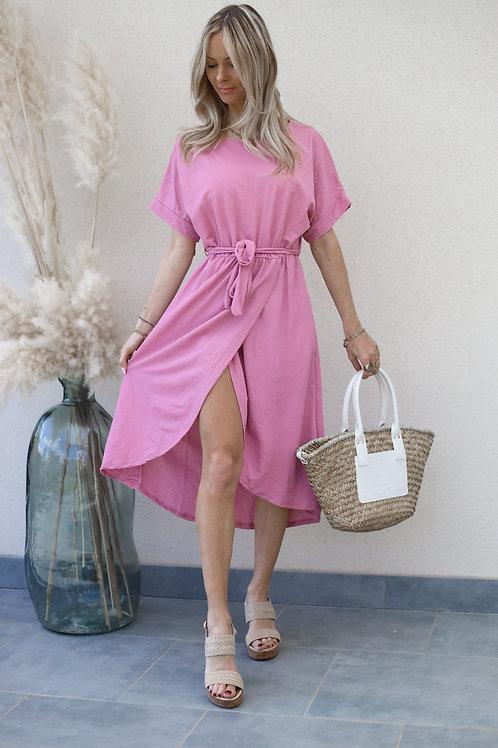 robe rose porte-feuille asymétrique