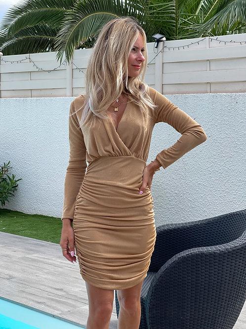 Robe manches longues drapée dorée. Pépite grecy 2021