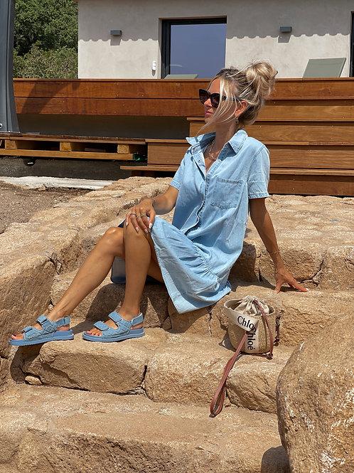 Robe en jean bleu.tendance Grecy été 2021