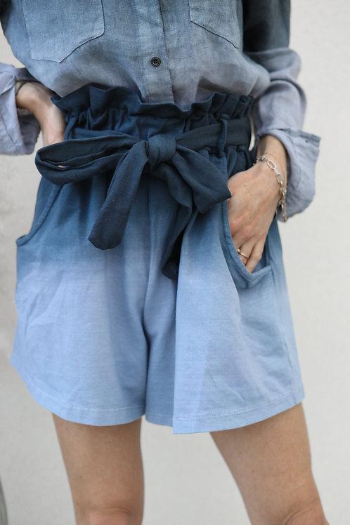 short tie and dye coton taille haute ceinture