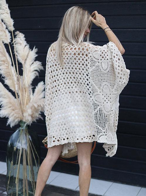 Kimono Beige Macramé
