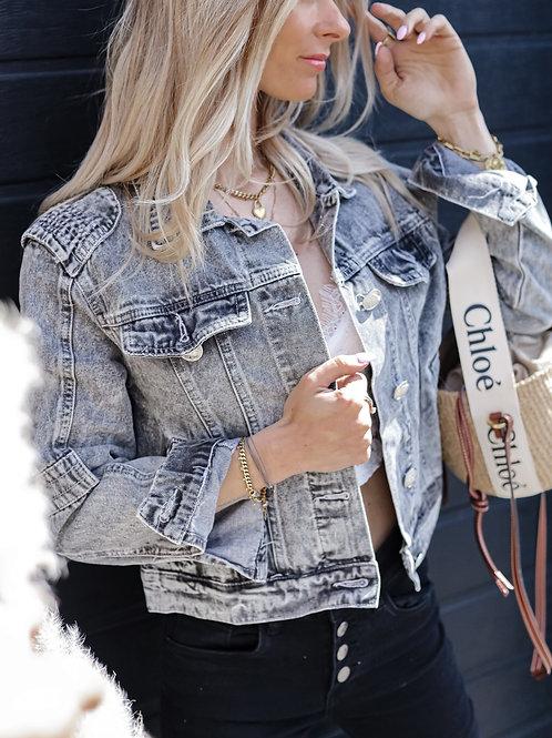 veste jean gris délavée