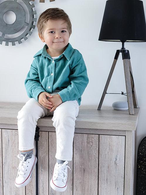 Chemise mixte pour petites filles et petits garçons gaze de coton , pour être matchy avec sa maman.  100% coton
