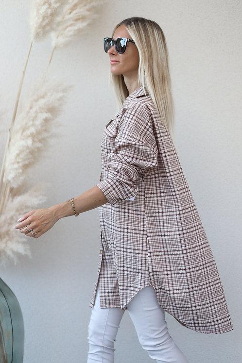 longue tunique Chemise à carreaux avec un coloris blanc & marron. Très fluide