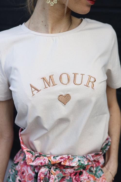 T-shirt Amour beige, broderie Amour couleur cuivré.