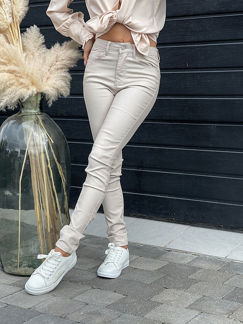Pantalon Similicuir Beige