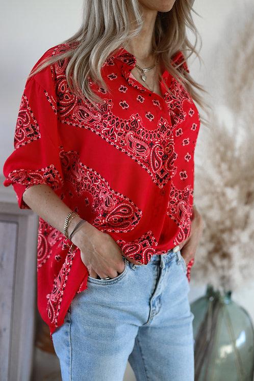 chemise blouse chemisier imprimé bandana rouge grecy