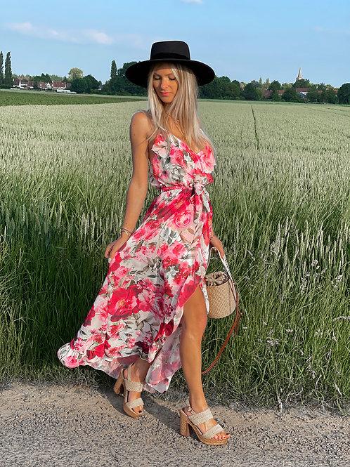 robe longue porte feuille volants fluide fleurie rose
