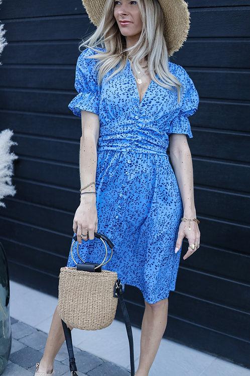 robe bleu fluide manches courtes grecy