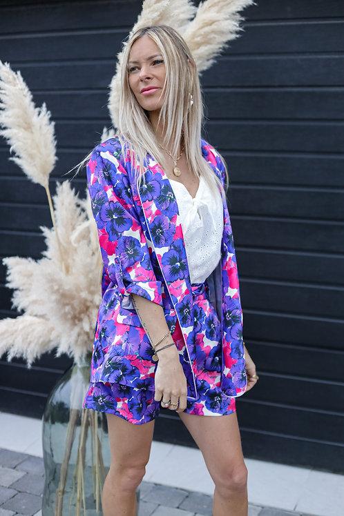 veste fleuri made in france blazer violet