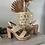 Sandales à talons épais , effet naturel avec une bride dorée