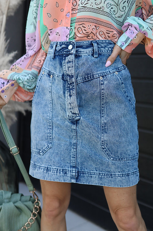 jupe jean taille haute