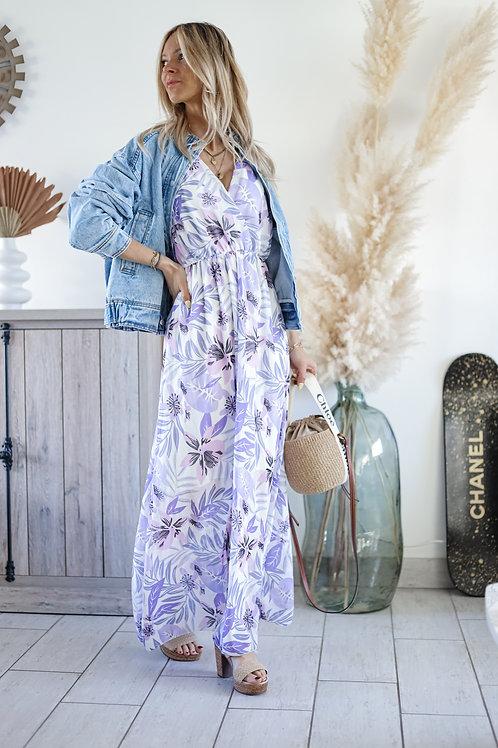 Robe longue avec des fleurs violette. lilas grecy mode tendance