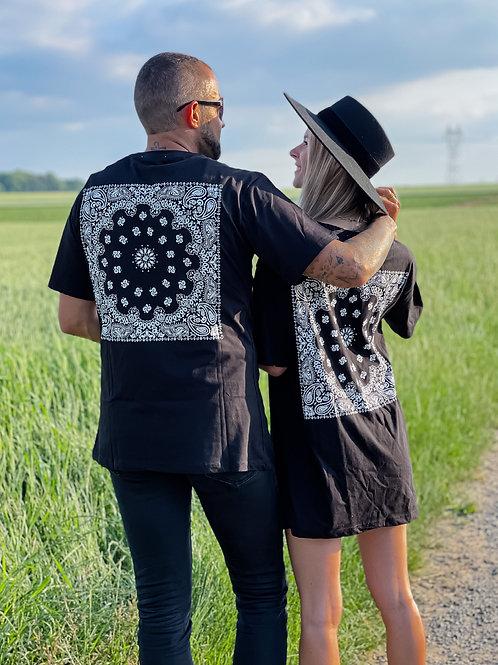 T-Shirt MIXTE  bandana Noir