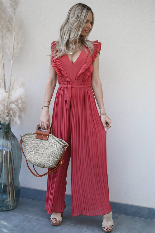 combinaison femme fluide pantalon grecy framboise