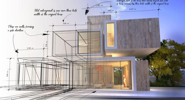 Arquitecto diseñando un edificio