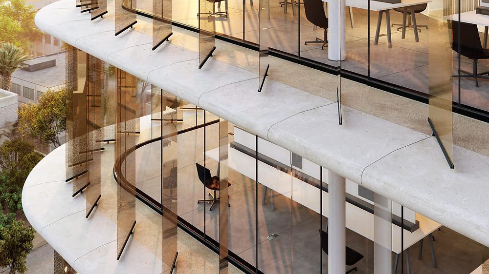 Este sistema de fachada multicapa protege el edificio del clima cálido y semiárido de Jartum. La envolvente ofrece un aspecto transparente, pero responde debidamente a la intensa luz solar, a las altas temperaturas y a las frecuentes tormentas de arena.