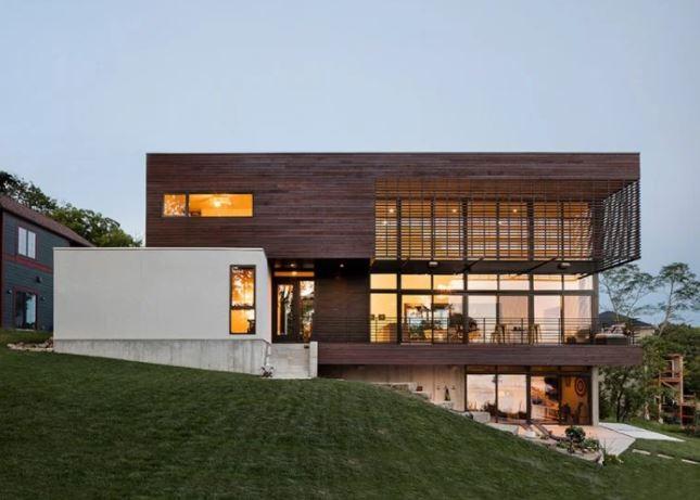 lodge moderno por kem studio A 'ganador del premio de diseño en la categoría de arquitectura, construcción y diseño de estructuras, 2018 imagen © bob greenspan