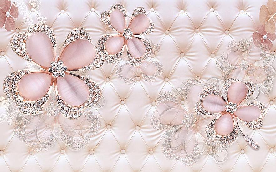 3 Boyutlu Pembe Çiçekli Duvar Kağıdı Modelleri