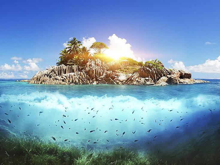 3 Boyutlu Duvar Kağıtları | Dokulu Denizde Ada Duvar Kağıtları