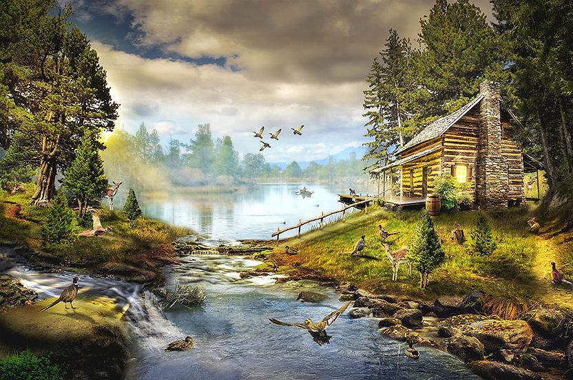 3D Nehir Kenarında Ağaç Evler Duvar Kağıdı | HD Göle Akan Nehir Duvar Kağıdı