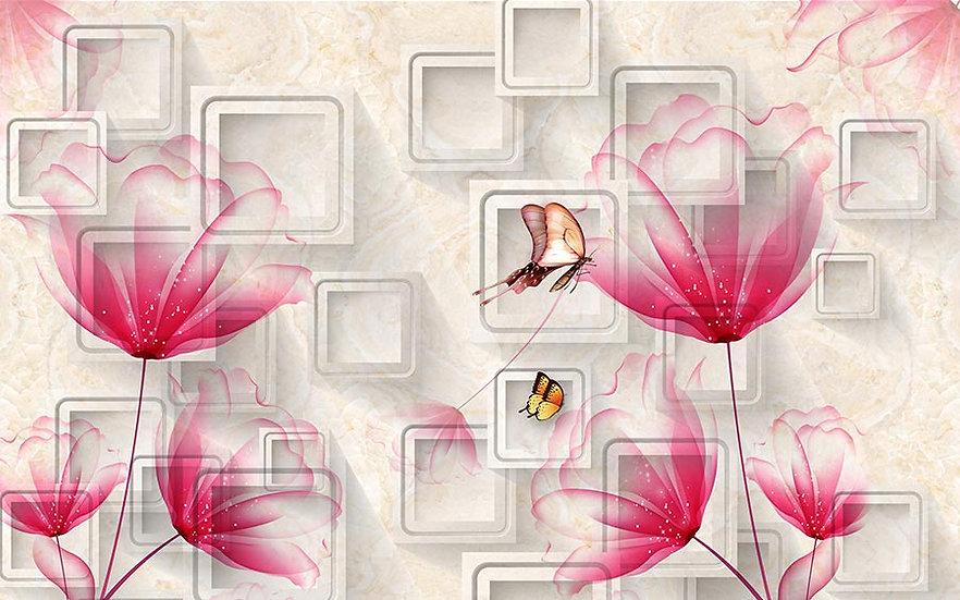 Soyut Çiçek Desenli Duvar Kağıdı | 3 Boyutlu Kelebek Duvar Kağıtları