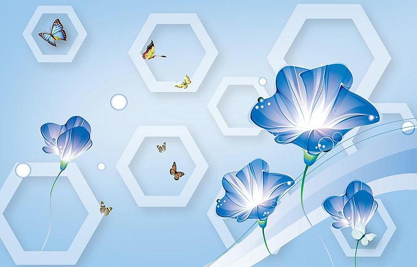 3 Boyutlu Mavi Çiçekler Duvar Kağıtları