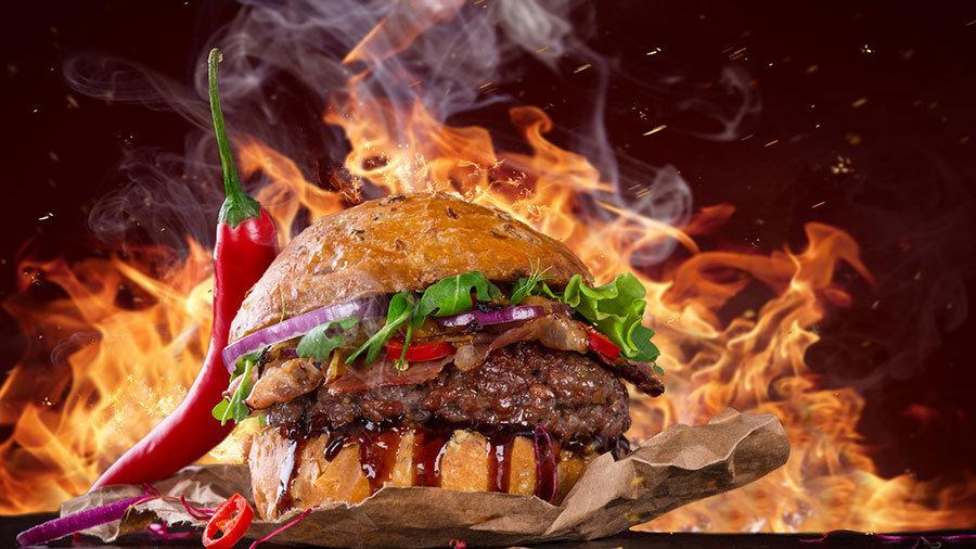 3 Boyutlu Et Atölyesi Duvar Kağıtları | Dokulu Cheeseburger Duvar Kağıtları