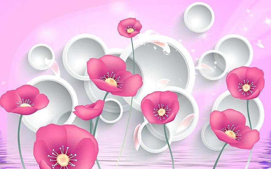 3D Tasarım Pembe Çiçekli Duvar Kağıtları Örnekleri