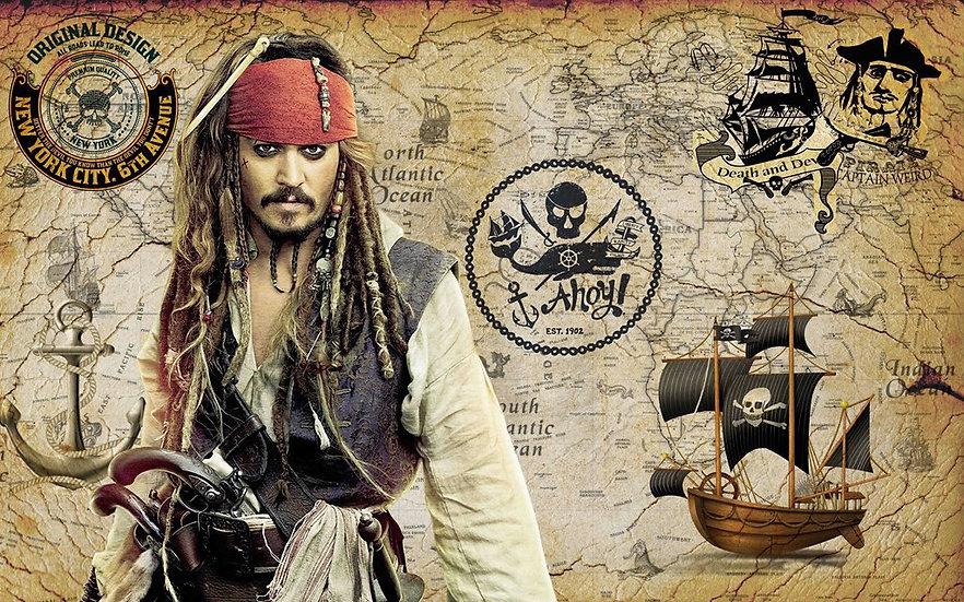 Çocuk Odasına Kaptan Jack Sparrow 3D Duvar Kağıdı