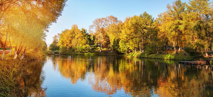 3 Boyutlu Sonbahar Göl Manzaralı Duvar Kağıtları